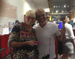 Suki and Brian Dunham show off OhMiBod's new product, blueMotion, at their Babeland launch party. (Photo by Jordyn Taylor)